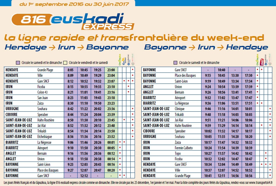 Bus transports 64 ligne 816 hendaye tourisme - Horaire bus bayonne ...